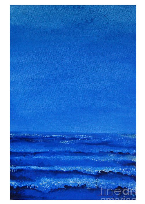 Abstract Greeting Card featuring the painting Seascape-0 by Padmakar Kappagantula