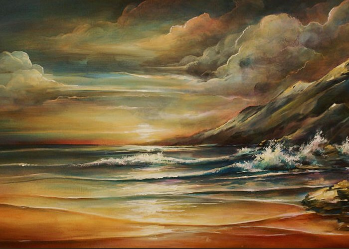 Seascape Greeting Card featuring the painting Seascape 3 by Michael Lang