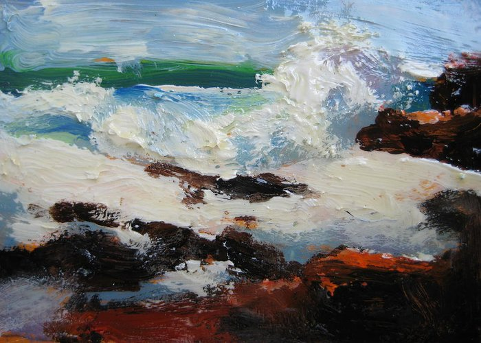 Seascape Greeting Card featuring the painting Seascape Aceo by Susan Jenkins