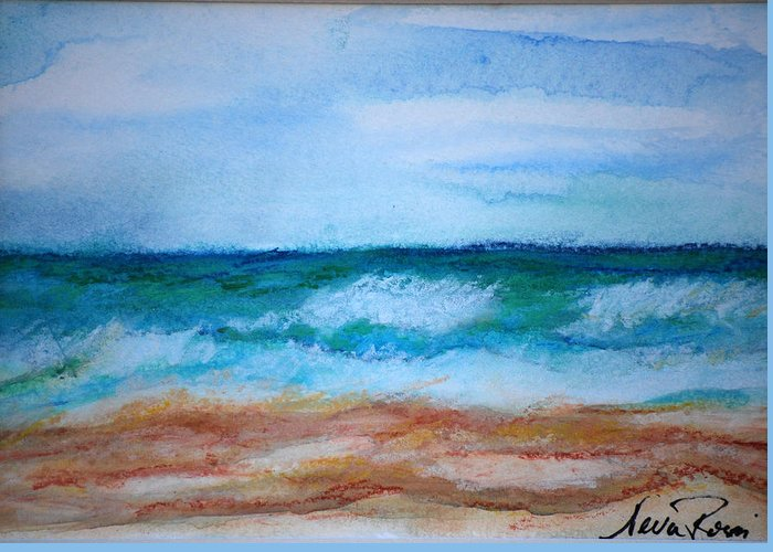 Watercoulour Greeting Card featuring the painting Seascape I by Neva Rossi