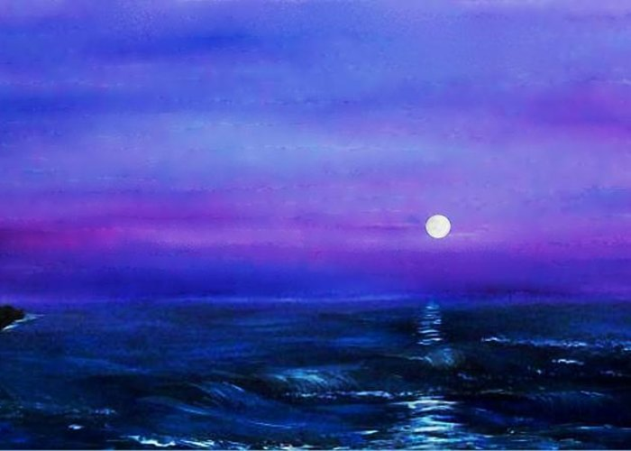 Seascape Greeting Card featuring the painting Seascape II by Tony Rodriguez