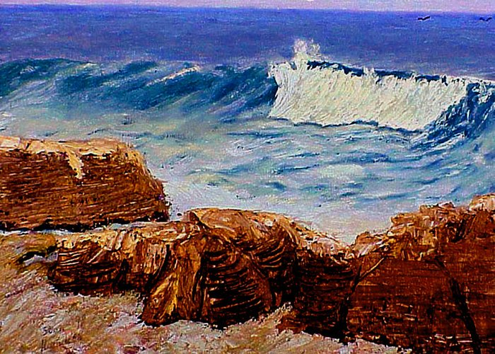 Ocean Greeting Card featuring the painting Seascape Rocks by Stan Hamilton
