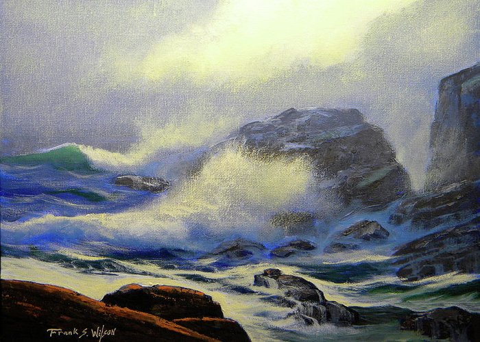 Surf Greeting Card featuring the painting Seascape Study 8 by Frank Wilson