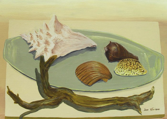 Acrylic Greeting Card featuring the painting Seashells by M Valeriano
