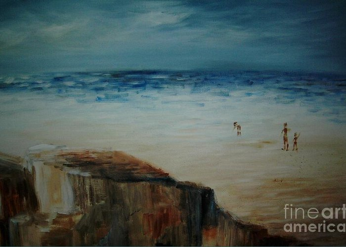 Water Greeting Card featuring the painting Seashore by Vivian Mosley