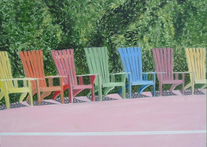 Seascape Greeting Card featuring the painting Seaside Chairs by John Terry