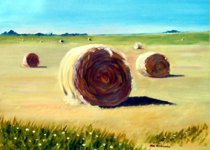 Landscape Greeting Card featuring the painting Seaside Hayfield by Anne Trotter Hodge