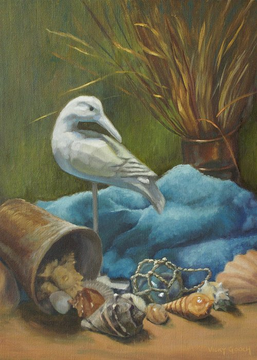 Stilllife Greeting Card featuring the painting Seaside Memories by Vicky Gooch