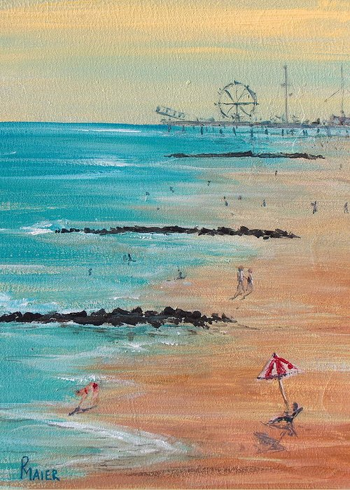 Beach Greeting Card featuring the painting Seaside by Pete Maier