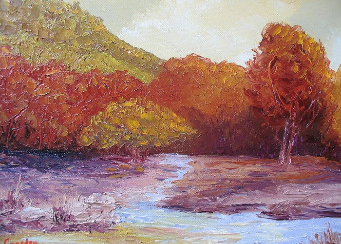 Landscape Greeting Card featuring the painting Season Change by Belinda Consten