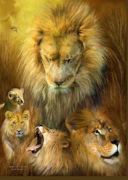Carol Cavaoaris Greeting Card featuring the mixed media Seasons Of The Lion by Carol Cavalaris