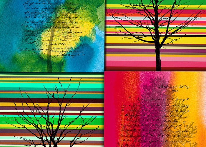 Action Greeting Card featuring the painting Seasons by Ramneek Narang