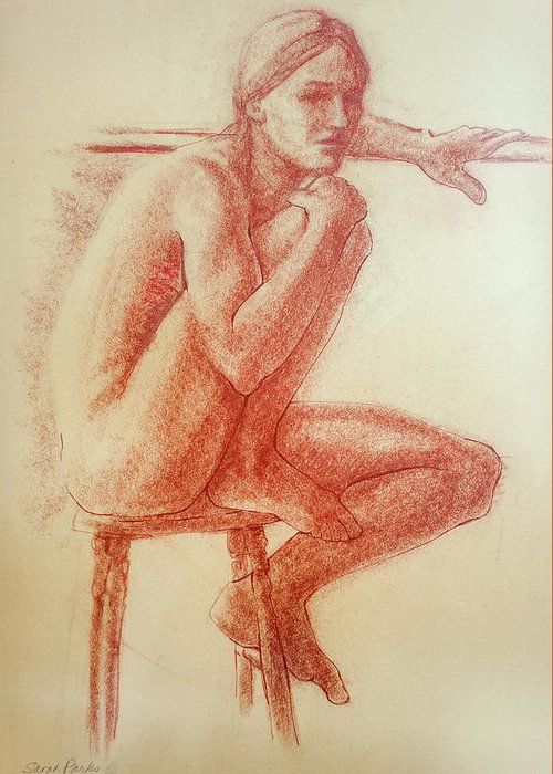 Figurative Greeting Card featuring the drawing Seated At The Barre by Sarah Parks
