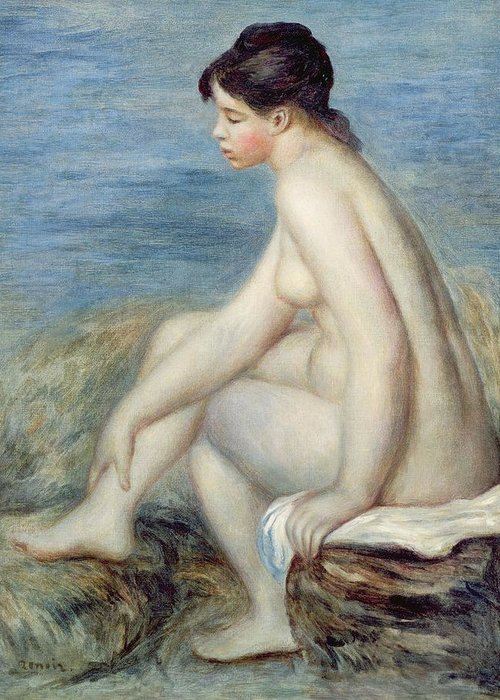 Seated Greeting Card featuring the painting Seated Bather by Renoir