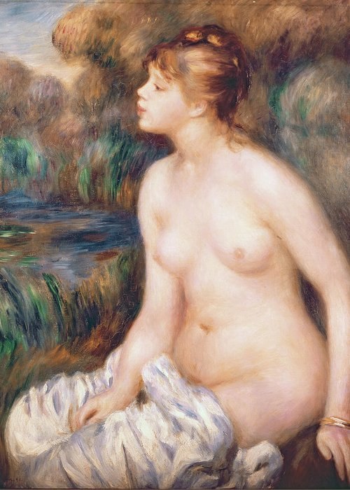 Seated Greeting Card featuring the painting Seated Female Nude by Renoir