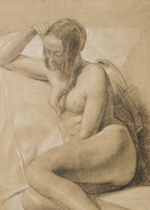 Nude Greeting Card featuring the drawing Seated Female Nude by Sir John Everett Millais