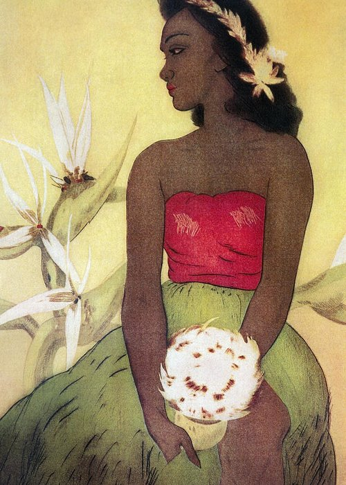 1940 Greeting Card featuring the painting Seated Hula Dancer by Hawaiian Legacy Archives - Printscapes