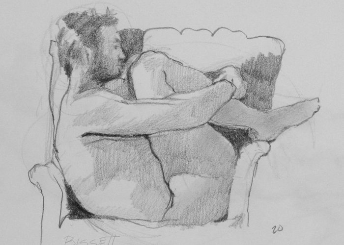 Life Greeting Card featuring the drawing Seated Nude 1 by Robert Bissett