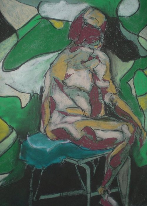 Seated Nude Greeting Card featuring the painting Seated Nude by Aleksandra Buha