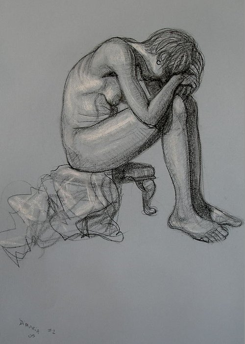 Realism Greeting Card featuring the drawing Seated Nude by Donelli DiMaria