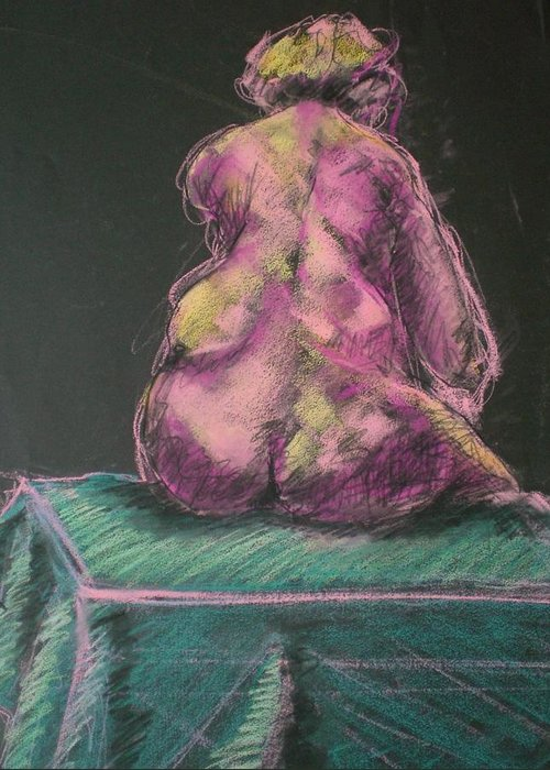 Seated Nude Greeting Card featuring the painting Seated Pink Nude by Aleksandra Buha