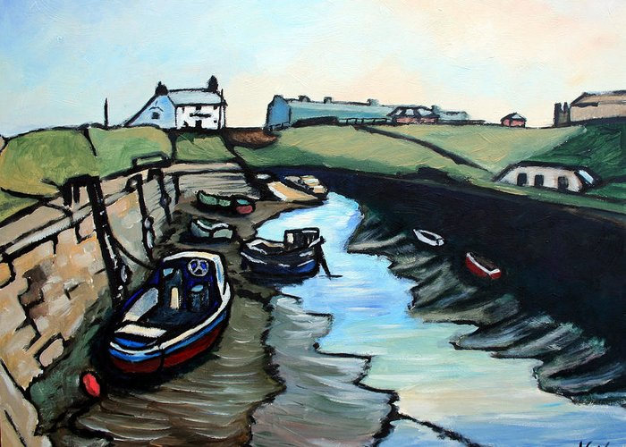 Seascape Greeting Card featuring the painting Seaton Sluice Harbour by John Cox