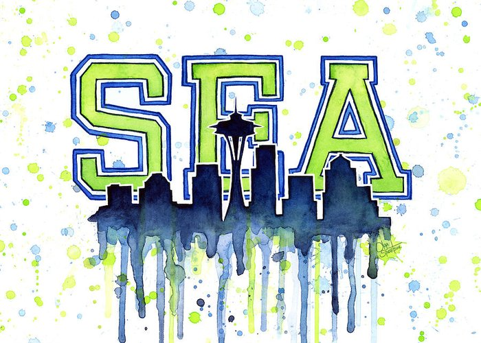 Watercolor Greeting Card featuring the painting Seattle Watercolor 12th Man Art Painting Space Needle Go Seahawks by Olga Shvartsur