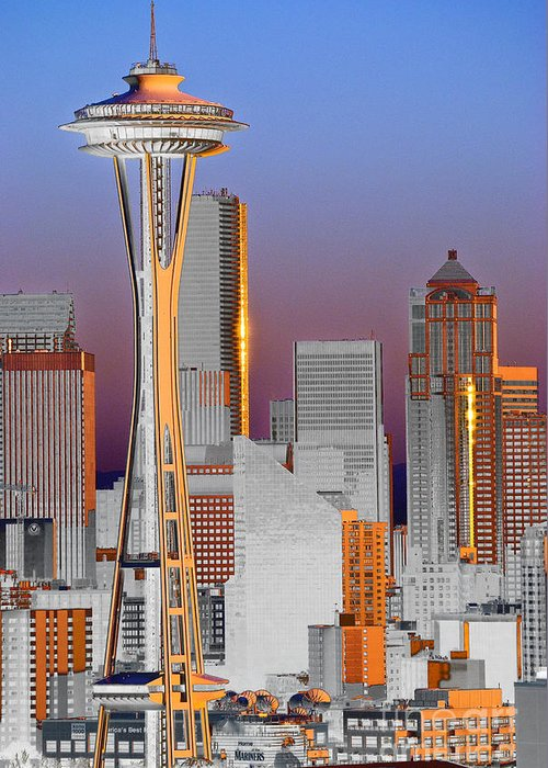 Seattle Greeting Card featuring the photograph Seattle Architecture by Larry Keahey