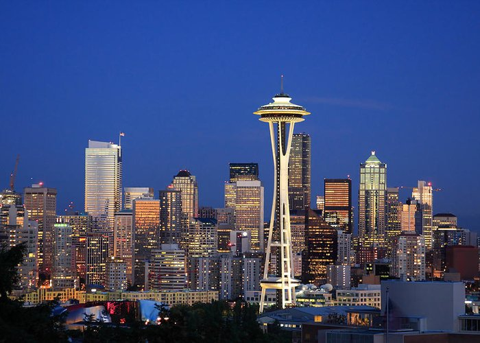 3scape Photos Greeting Card featuring the photograph Seattle At Dusk by Adam Romanowicz