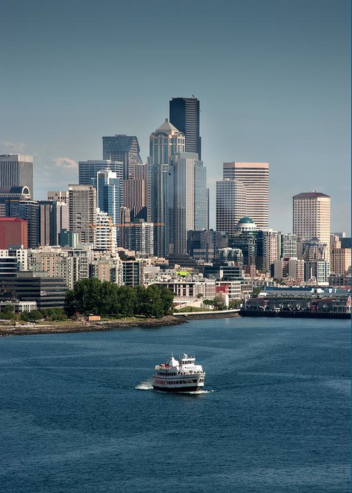 Seattle Greeting Card featuring the photograph Seattle By Ferry by Antonio Novelli