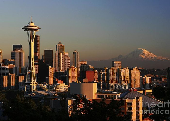 Seattle Sunset Cityscape Evening City Rainier Greeting Card featuring the photograph Seattle Equinox by Winston Rockwell