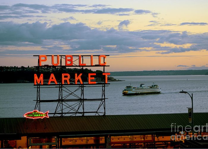Seattle Greeting Card featuring the photograph Seattle Ferry At Dusk by Ed Rooney