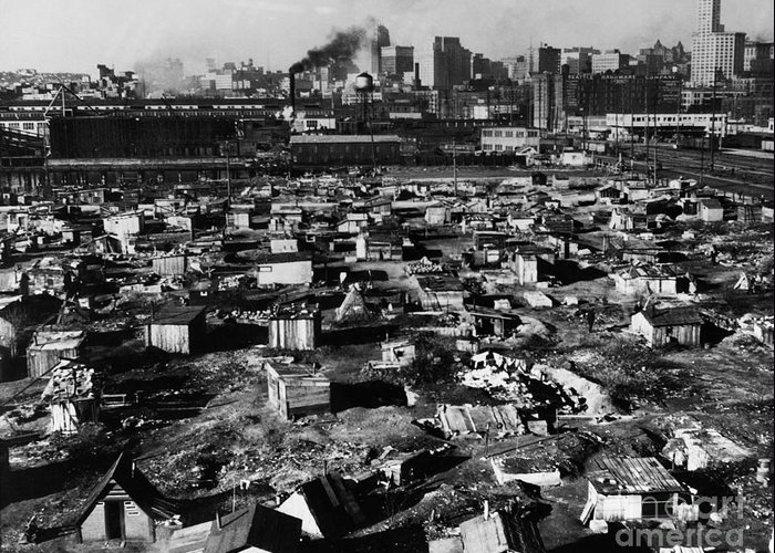 1933 Greeting Card featuring the photograph Seattle: Hooverville, 1933 by Granger