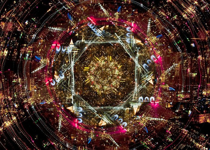 New Year Count Down 2011 Greeting Card featuring the photograph Seattle Kaleidoscope 2011 A380 by Yoshiki Nakamura