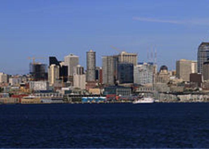 3scape Photos Greeting Card featuring the photograph Seattle Panoramic by Adam Romanowicz
