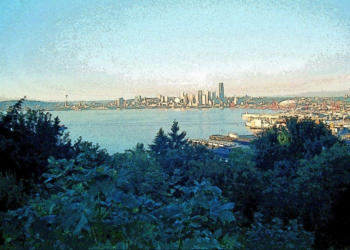 Seattle Greeting Card featuring the photograph Seattle Skyline 2 by Steve Ohlsen