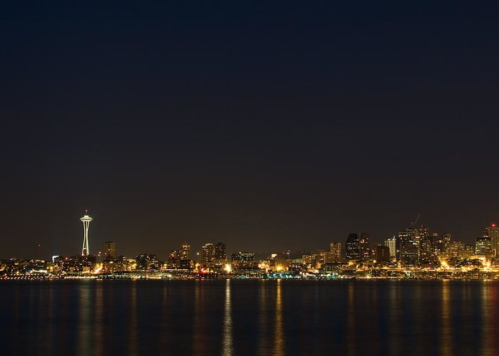 Seattle Greeting Card featuring the photograph Seattle Skyline At Night by Stacey Lynn Payne
