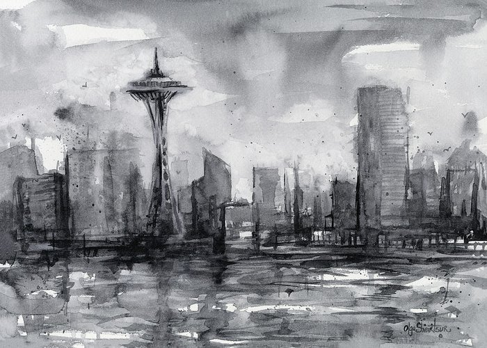 Seattle Greeting Card featuring the painting Seattle Skyline Painting Watercolor by Olga Shvartsur