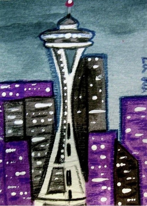Space Needle Greeting Card featuring the painting Seattle Space Needle Cityscape by Monica Resinger