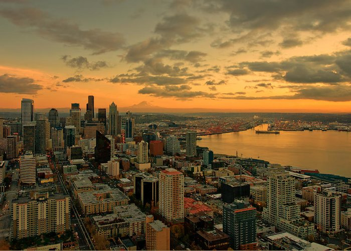 Seattle Greeting Card featuring the photograph Seattle Sunset by Dan Mihai