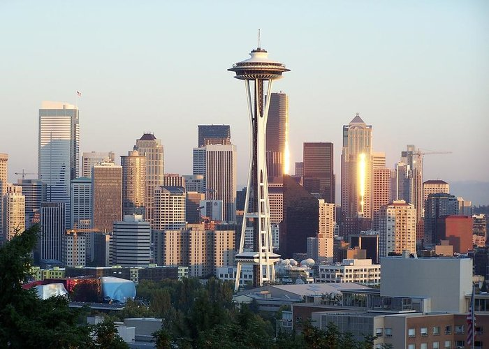 Seattle Greeting Card featuring the photograph Seattle Sunset by Gene Ritchhart