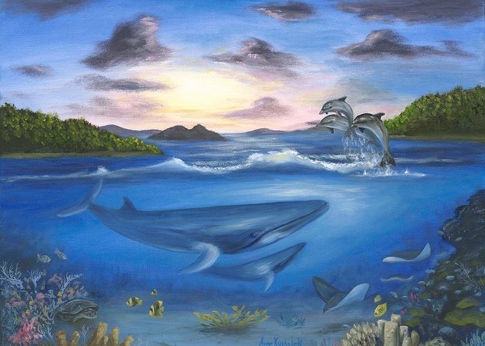 Landscape Greeting Card featuring the painting Seaworld by Anne Kushnick