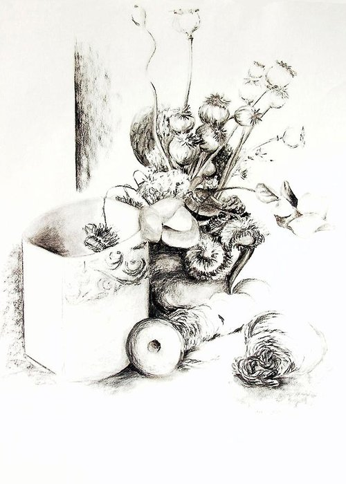Still Life Greeting Card featuring the drawing Sec by Muriel Dolemieux