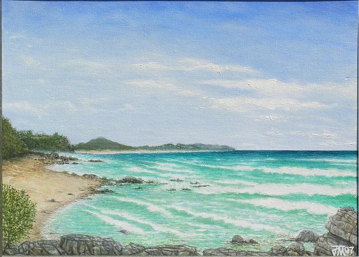 Seascape Greeting Card featuring the painting Second Bay Coolum Beach by Joe Michelli