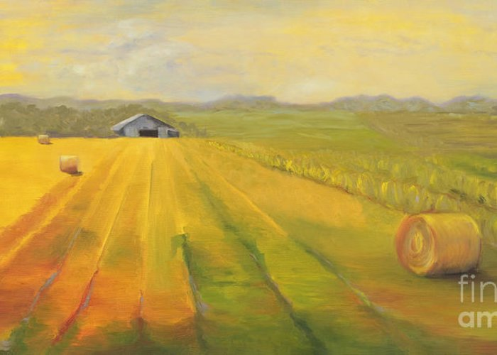 Landscape Greeting Card featuring the painting Second Cutting by Amy Welborn