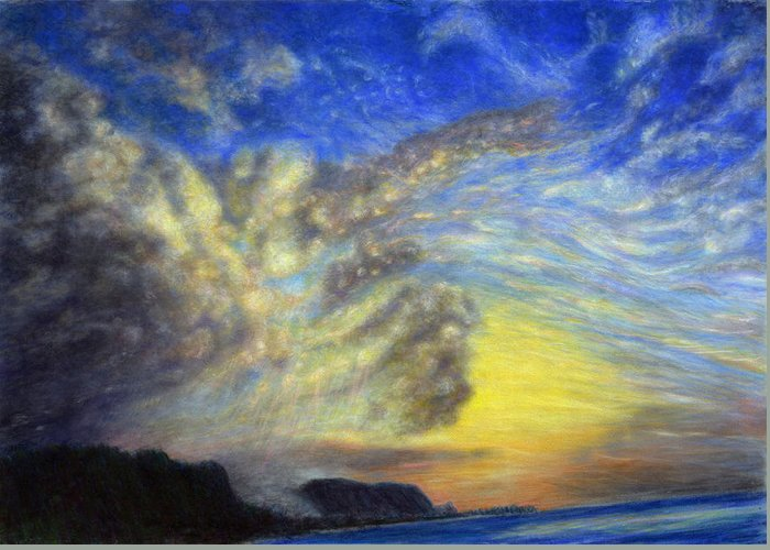 Coastal Decor Greeting Card featuring the painting Secret Beach Sunset by Kenneth Grzesik