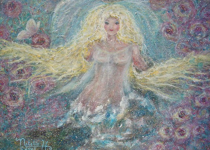Angel Greeting Card featuring the painting Secret Garden Angel 3 by Natalie Holland