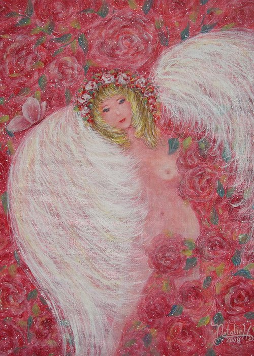 Angel Greeting Card featuring the painting Secret Garden Angel 6 by Natalie Holland