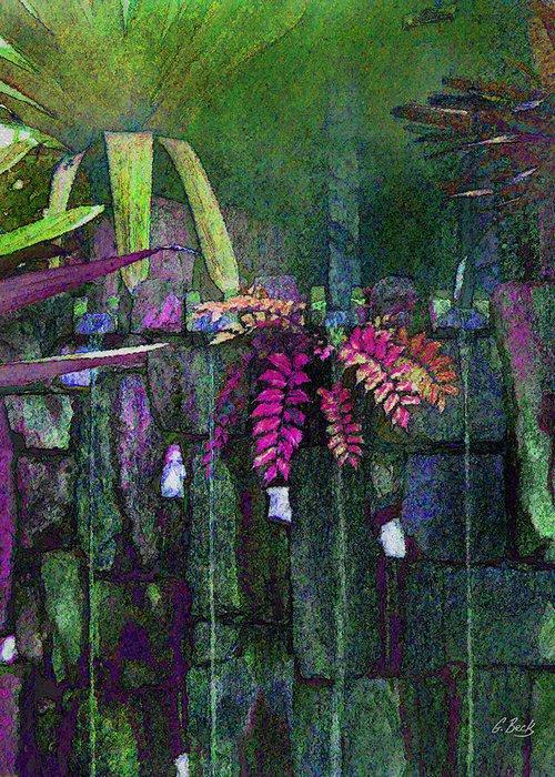 Contemporary Abstract Garden Water Waterfall Ferns Nature Botany Botanical Gordon Beck Fine Art Greeting Card featuring the photograph Secret Garden by Gordon Beck