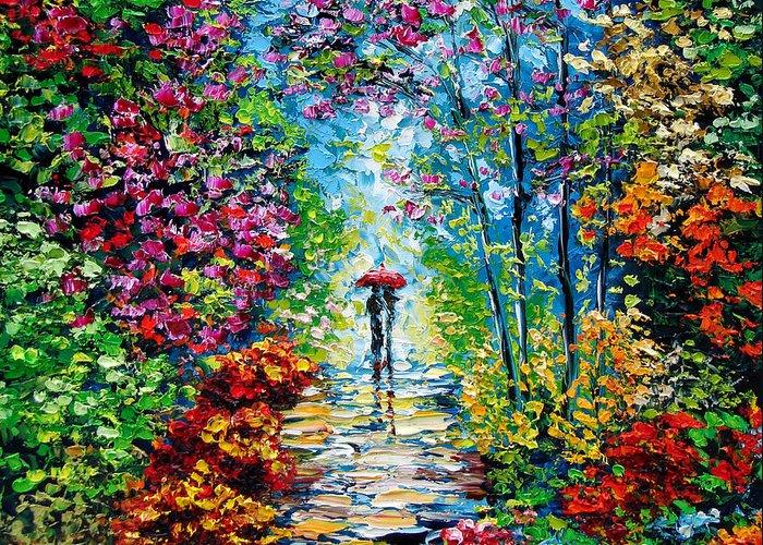 Oil Paining Greeting Card featuring the painting Secret Garden Oil Painting - B. Sasik by Beata Sasik